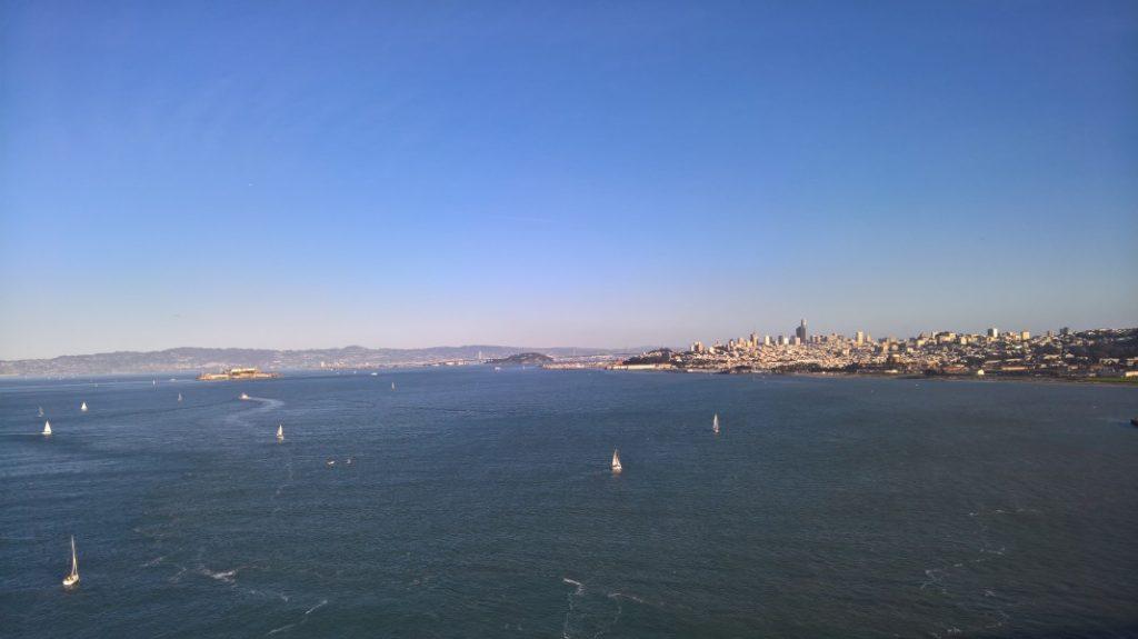 Blick von der Golden Gate Bridge auf San Francisco